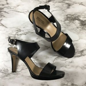 Michael Kors Black Open Toe Strappy Leather Heels